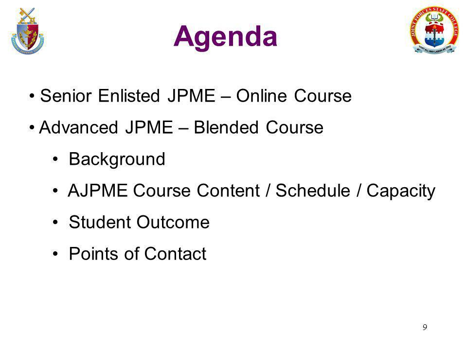 Agenda Senior Enlisted JPME – Online Course