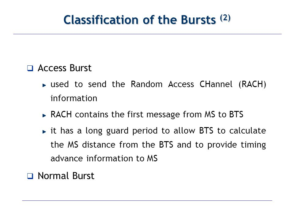 Classification of the Bursts (2)