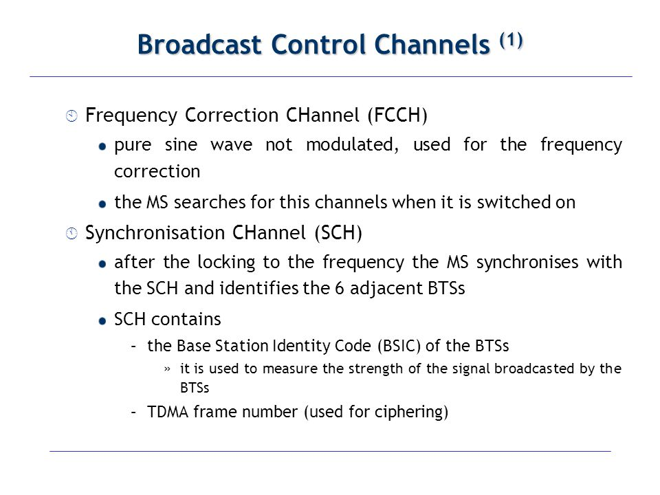 Broadcast Control Channels (1)