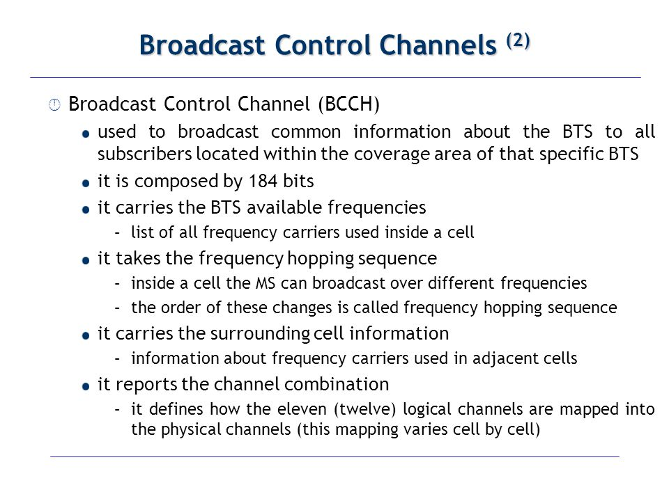 Broadcast Control Channels (2)