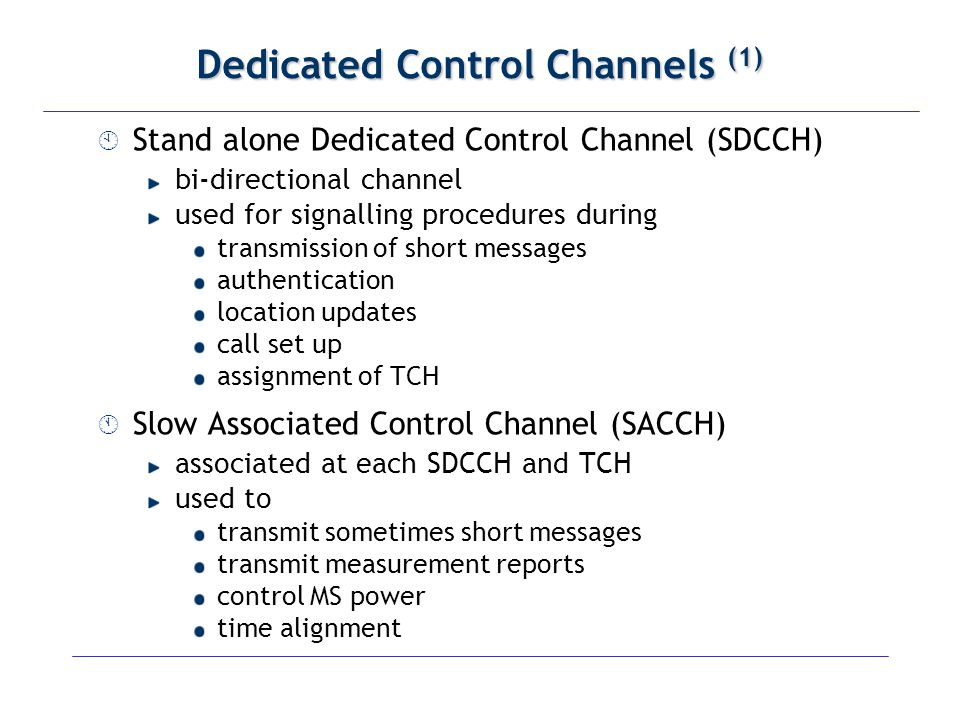 Dedicated Control Channels (1)