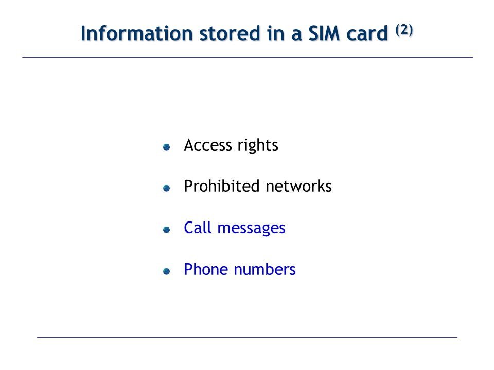 Information stored in a SIM card (2)