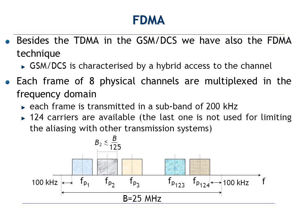 FDMA Besides the TDMA in the GSM/DCS we have also the FDMA technique