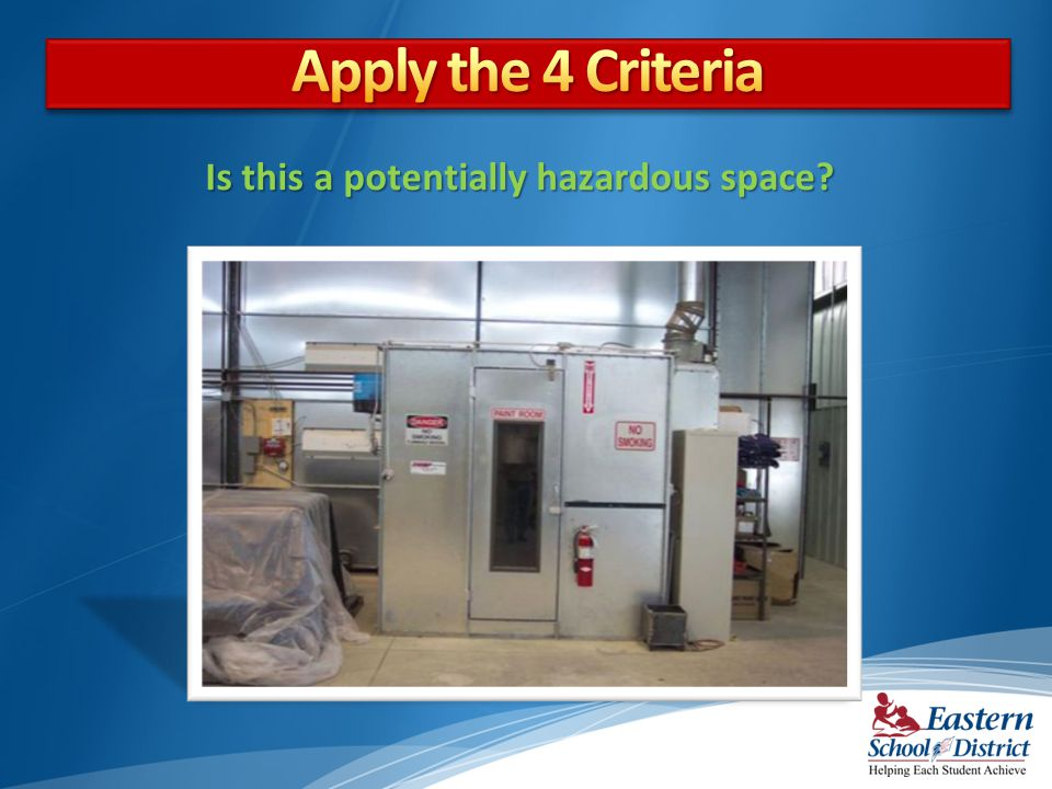 Apply the 4 Criteria Is this a potentially hazardous space