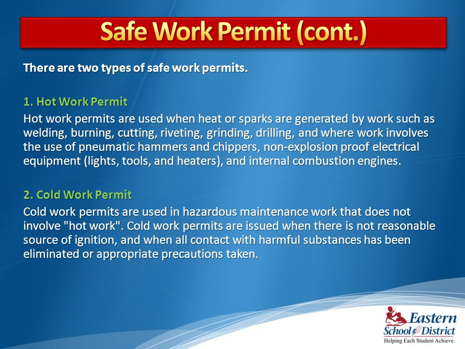 Safe Work Permit (cont.)