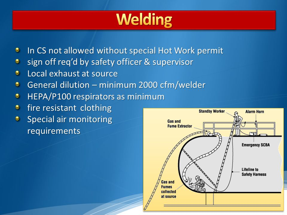 Welding In CS not allowed without special Hot Work permit