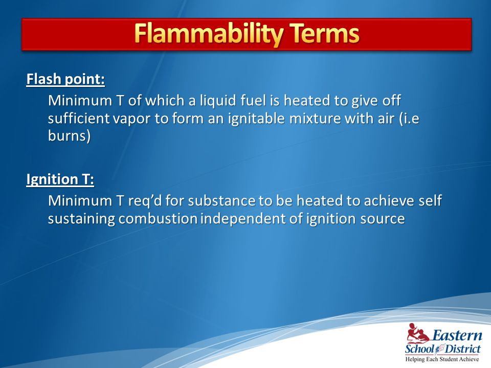 Flammability Terms Flash point: