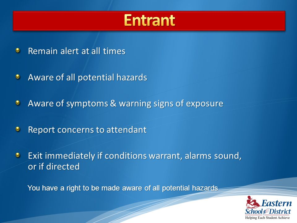 Entrant Remain alert at all times Aware of all potential hazards