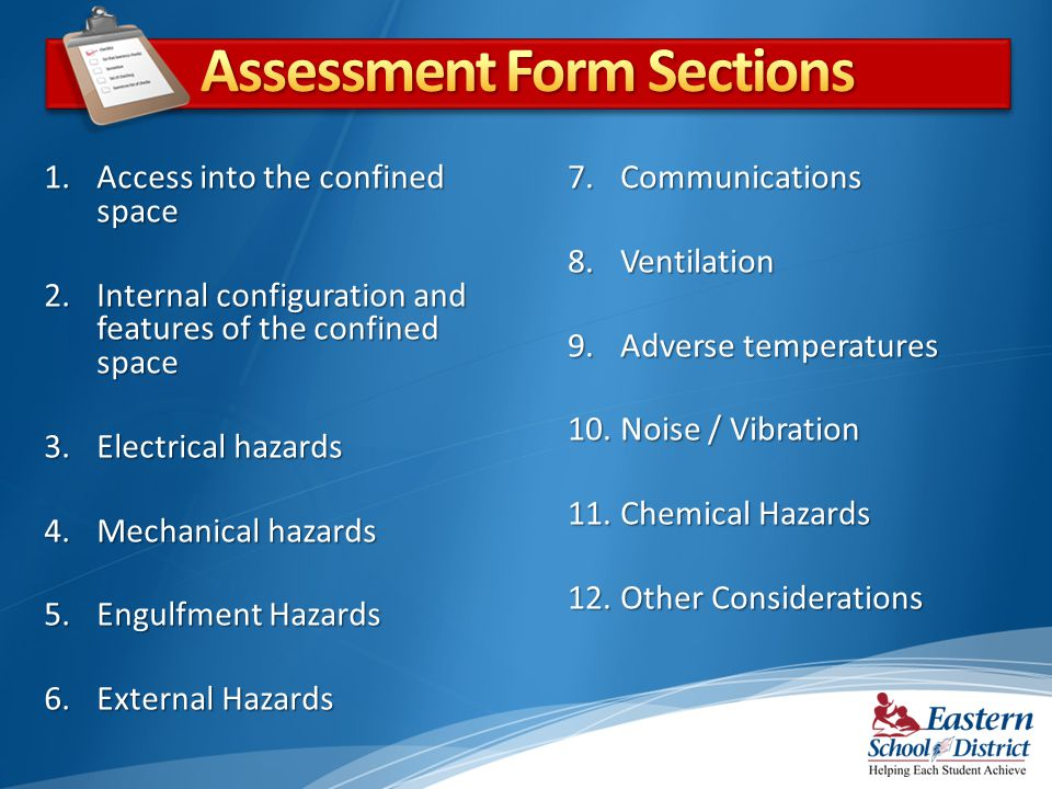 Assessment Form Sections