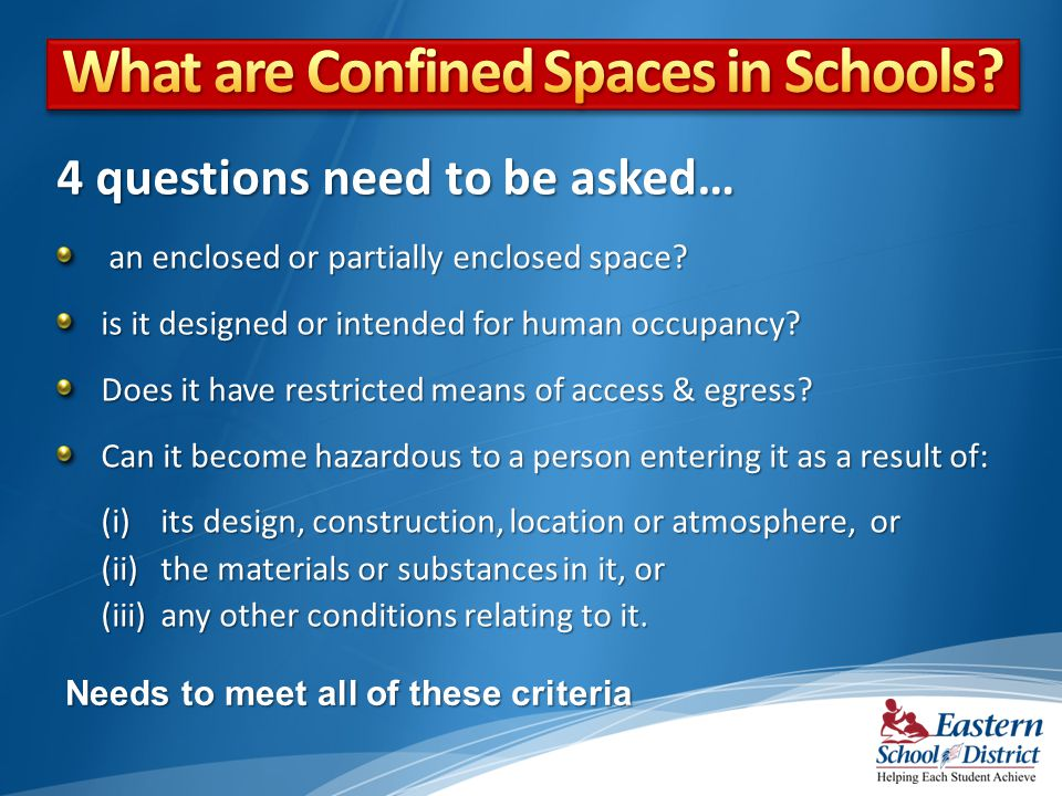 What are Confined Spaces in Schools