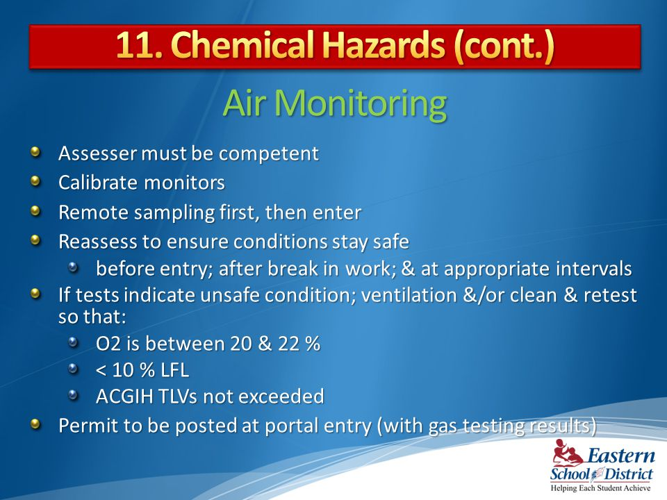 11. Chemical Hazards (cont.)