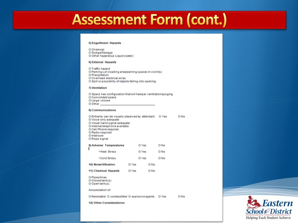 Assessment Form (cont.)