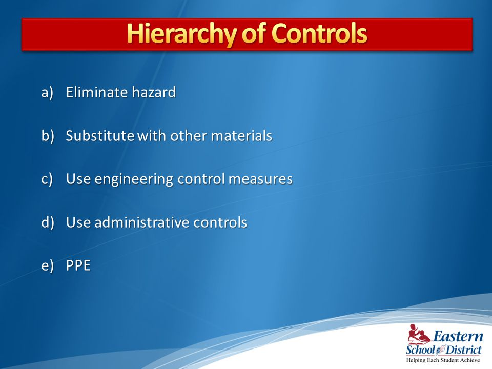 Hierarchy of Controls Eliminate hazard Substitute with other materials
