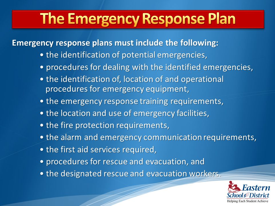 The Emergency Response Plan