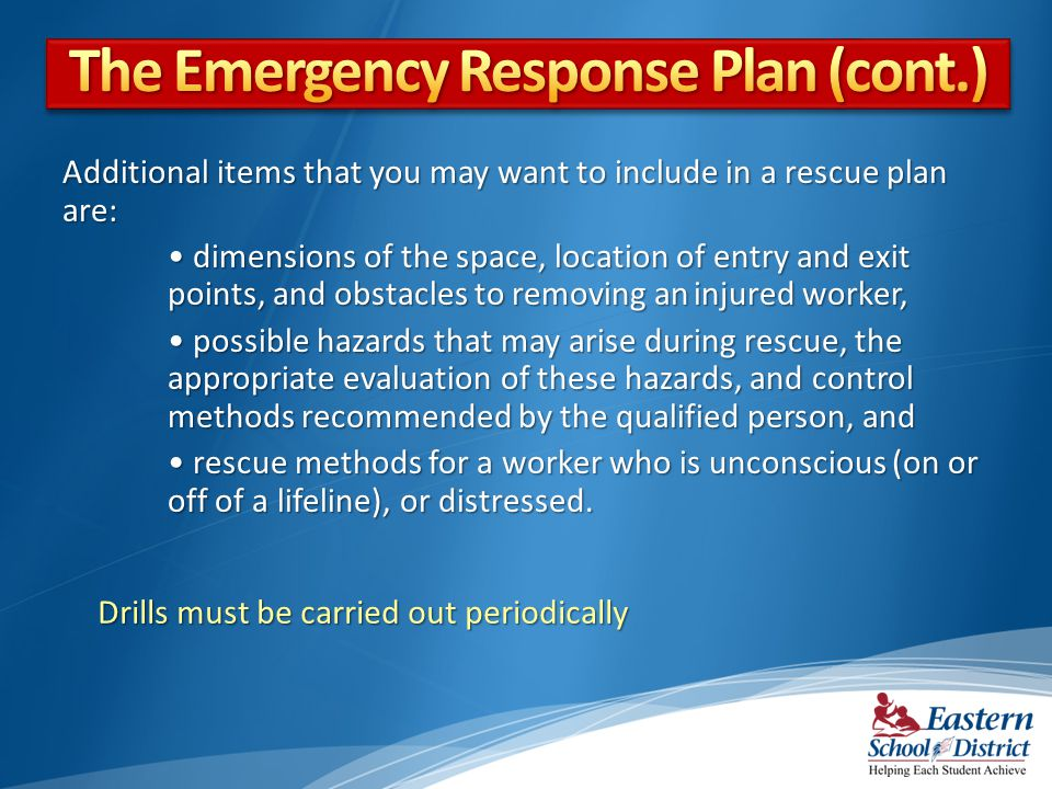 The Emergency Response Plan (cont.)