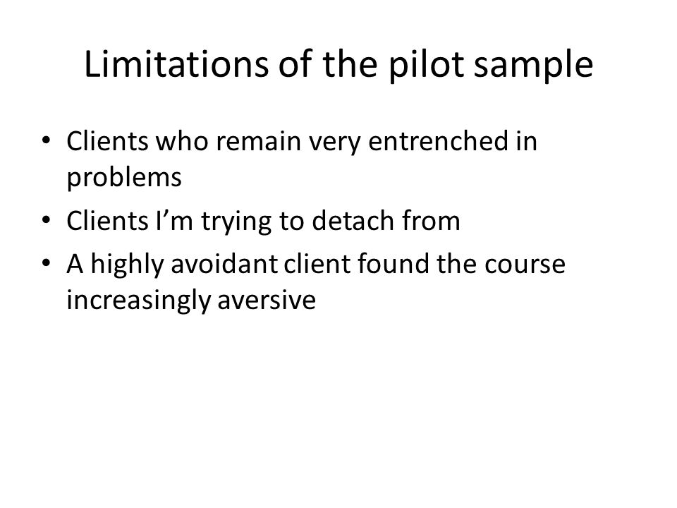 Limitations of the pilot sample