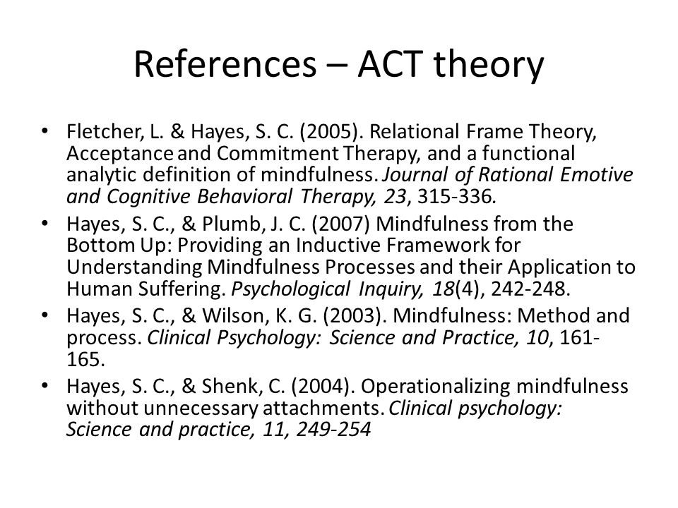 References – ACT theory