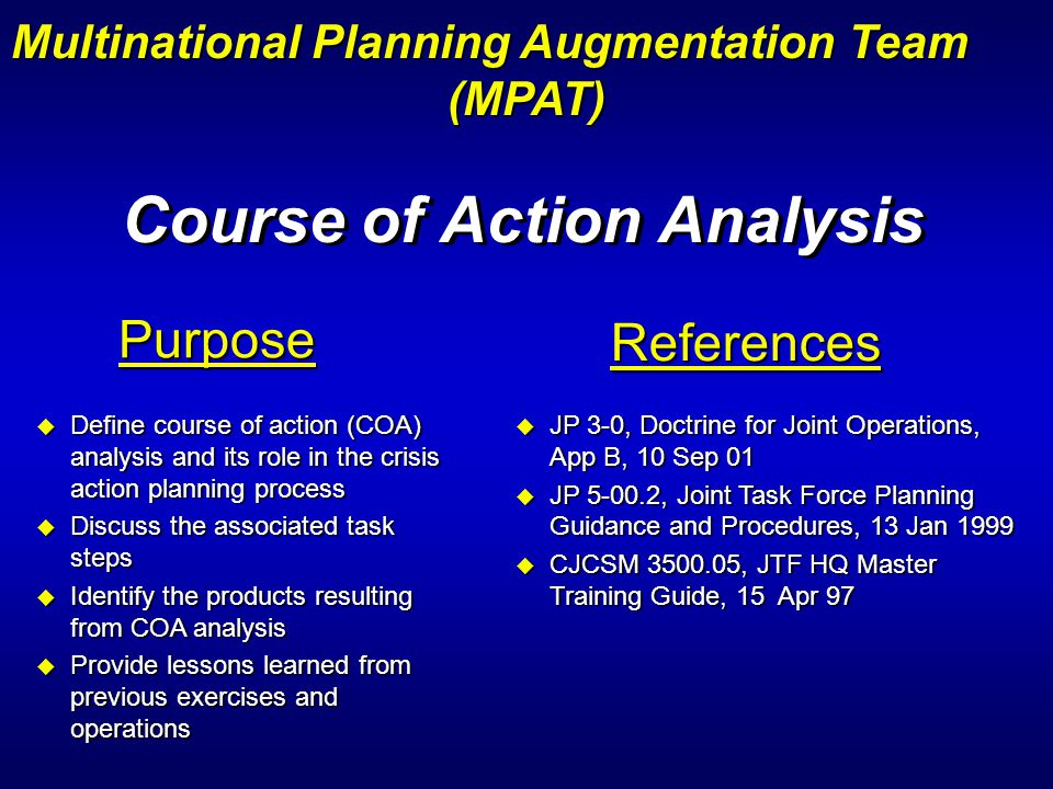 Course of Action Analysis