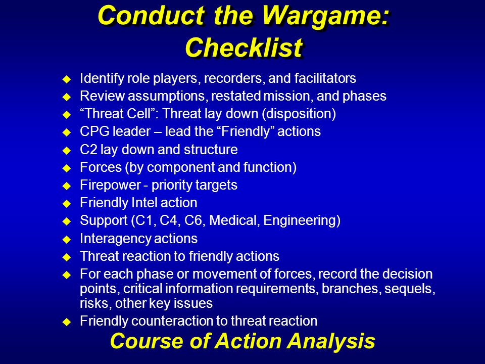 Conduct the Wargame: Checklist