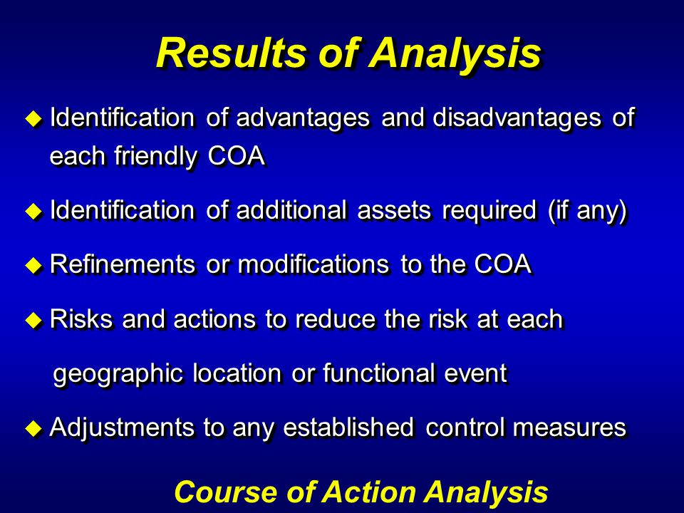Results of Analysis Course of Action Analysis