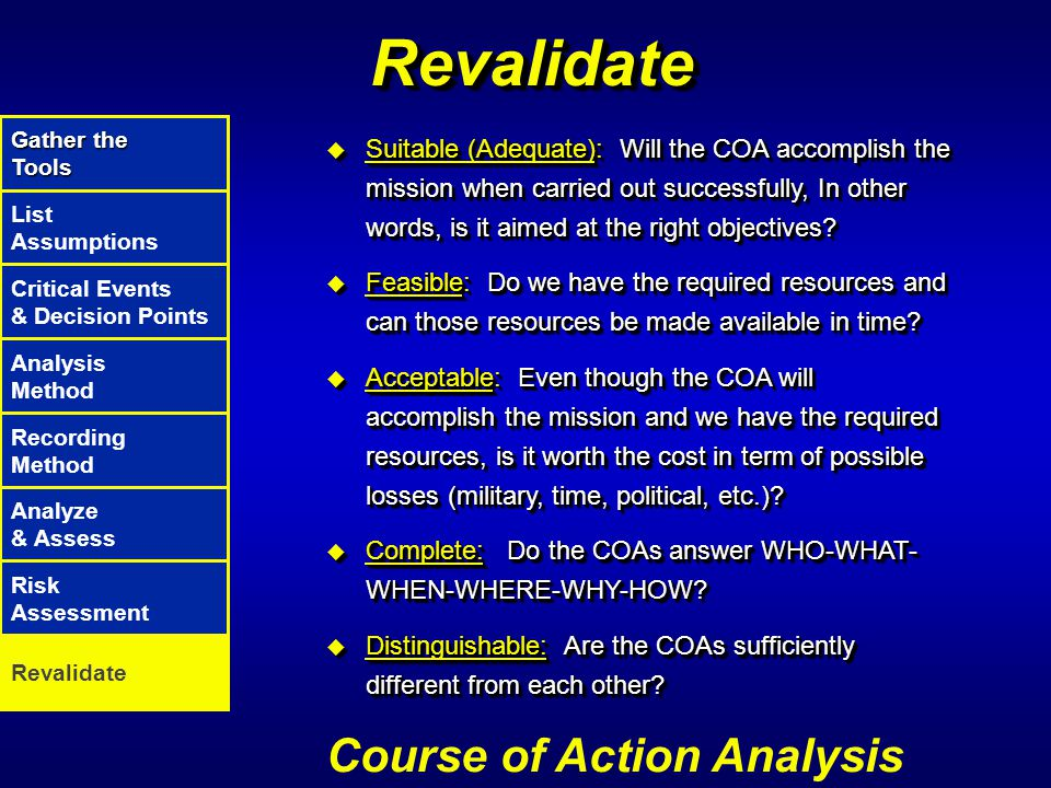 Revalidate Course of Action Analysis