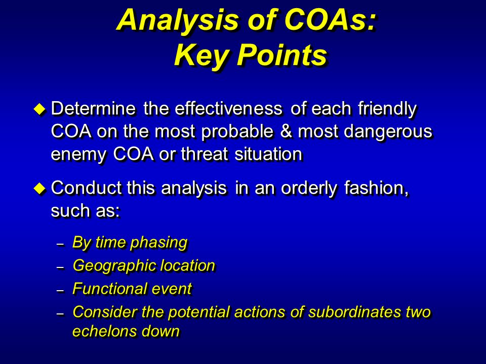 Analysis of COAs: Key Points