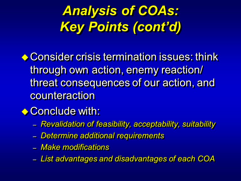 Analysis of COAs: Key Points (cont'd)