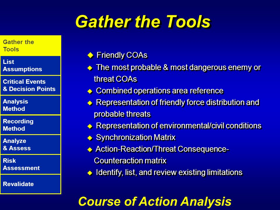 Gather the Tools Course of Action Analysis Friendly COAs