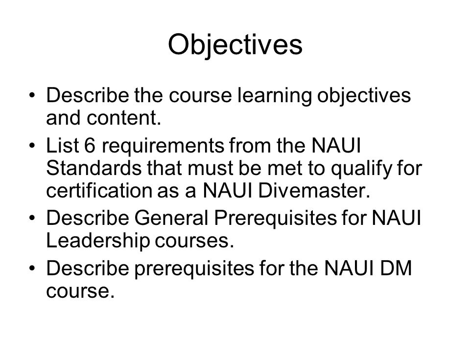 Objectives Describe the course learning objectives and content.