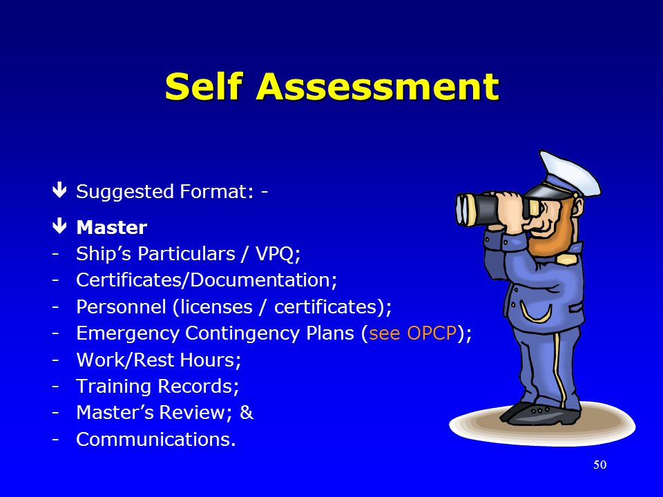 Self Assessment Suggested Format: - Master Ship's Particulars / VPQ;