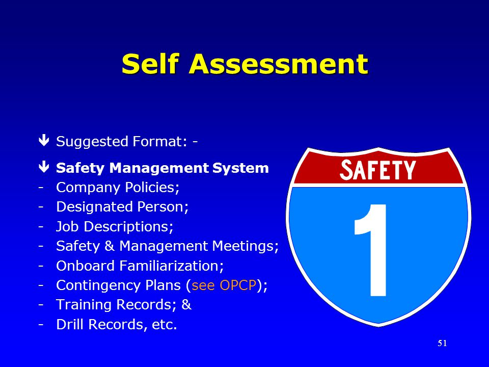 Self Assessment Suggested Format: - Safety Management System