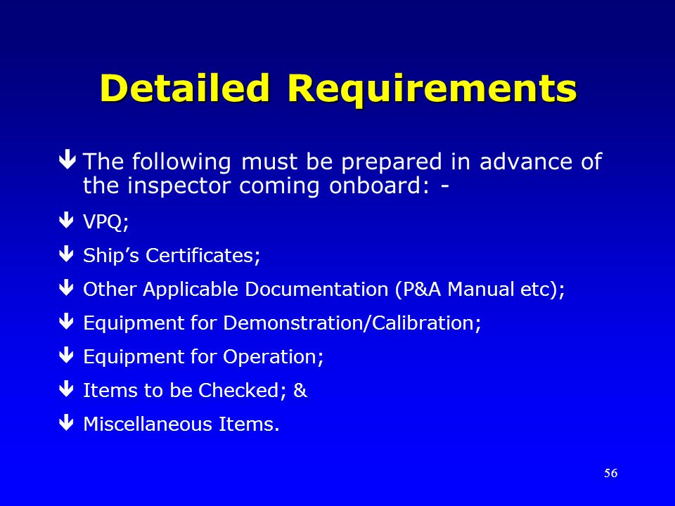 Detailed Requirements