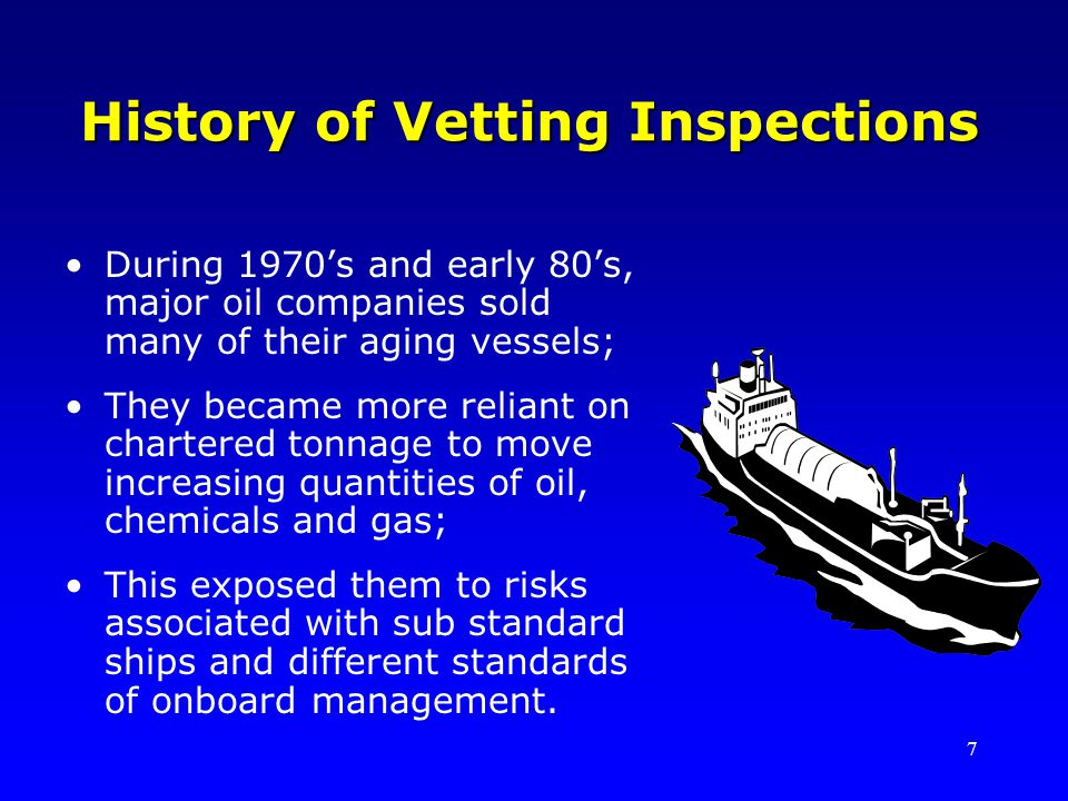 History of Vetting Inspections