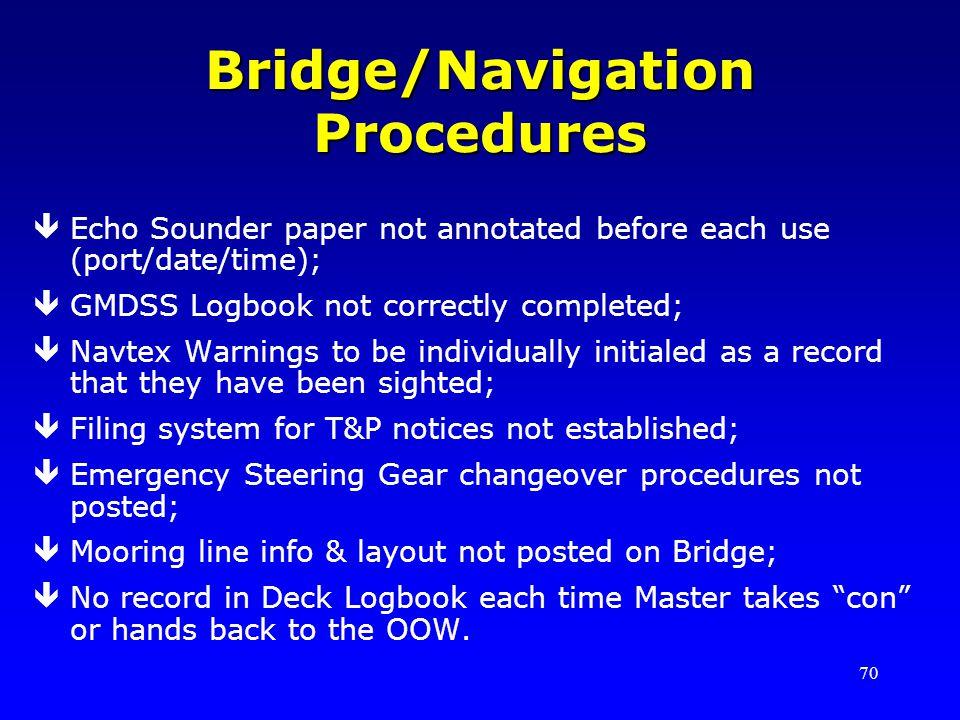 Bridge/Navigation Procedures