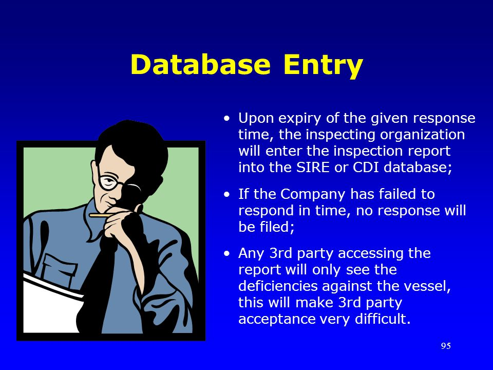 Database Entry Upon expiry of the given response time, the inspecting organization will enter the inspection report into the SIRE or CDI database;