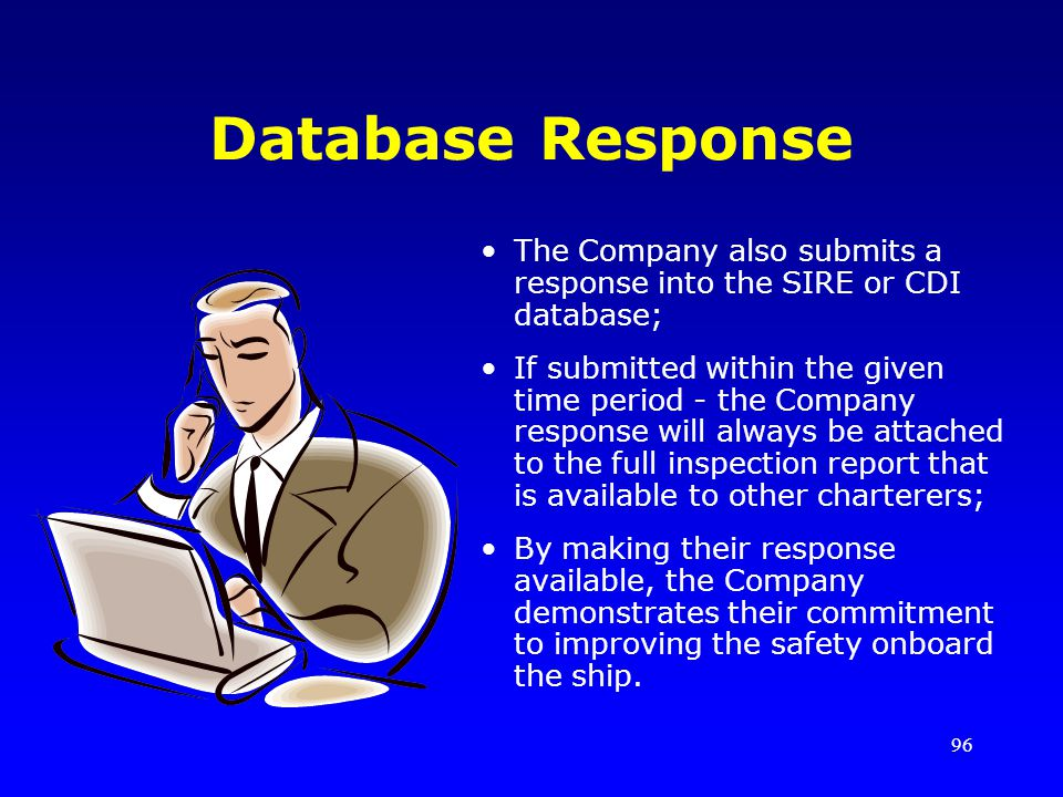 Database Response The Company also submits a response into the SIRE or CDI database;