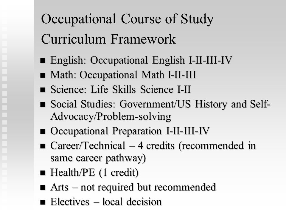 Occupational Course of Study Curriculum Framework