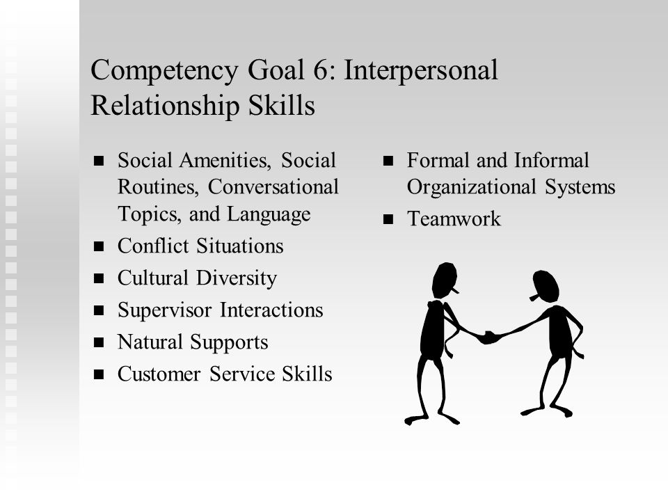 Competency Goal 6: Interpersonal Relationship Skills