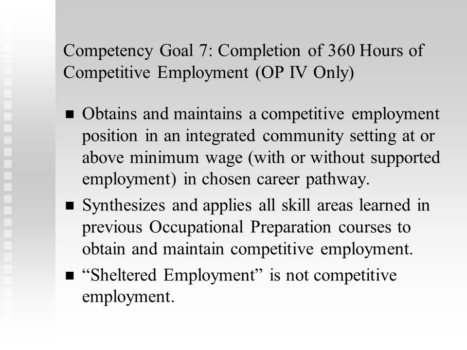 Sheltered Employment is not competitive employment.