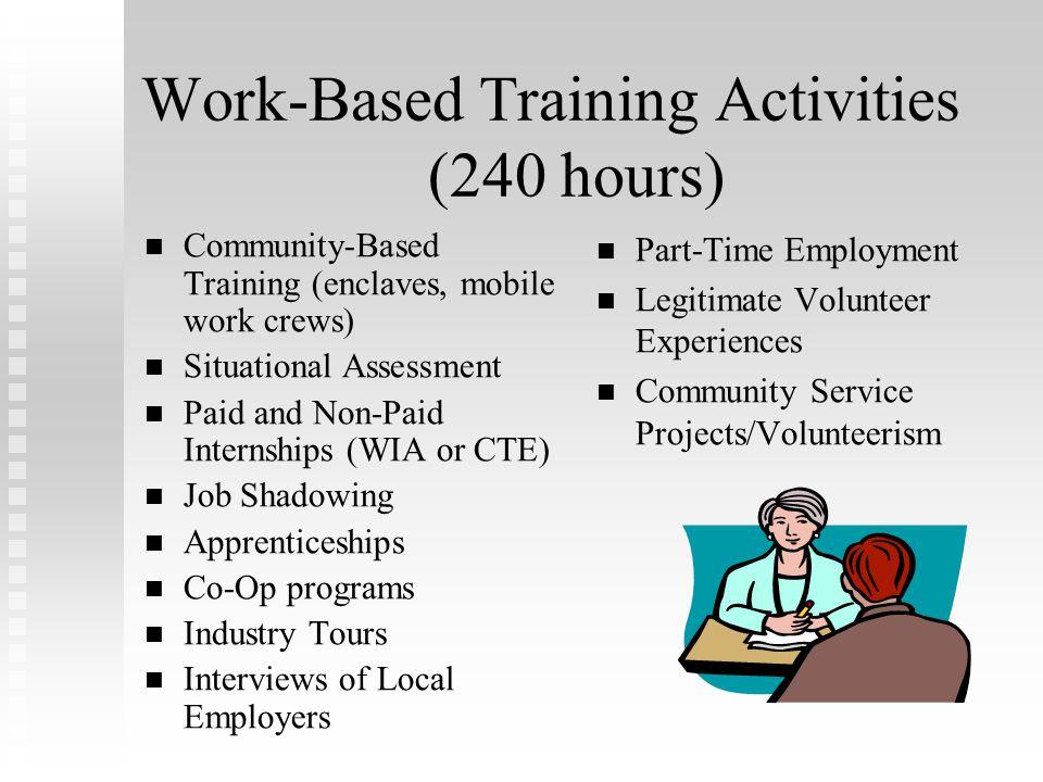 Work-Based Training Activities (240 hours)