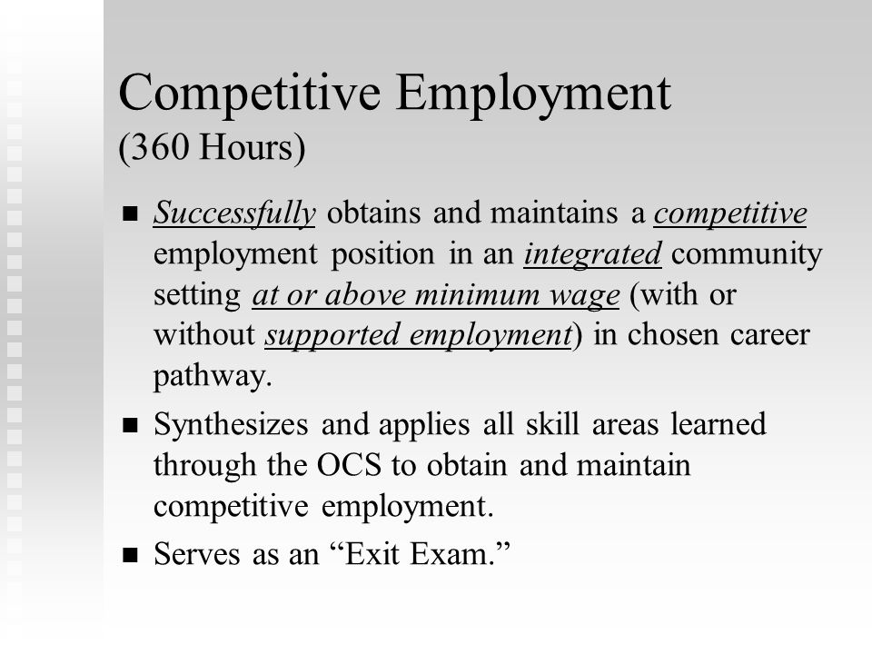 Competitive Employment (360 Hours)