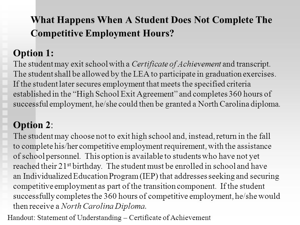 What Happens When A Student Does Not Complete The Competitive Employment Hours
