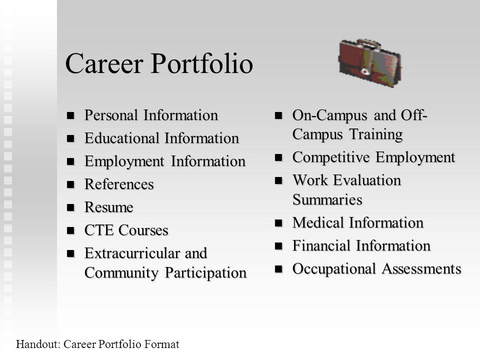 Career Portfolio Personal Information Educational Information