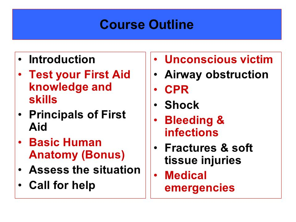 Course Outline Introduction Test your First Aid knowledge and skills