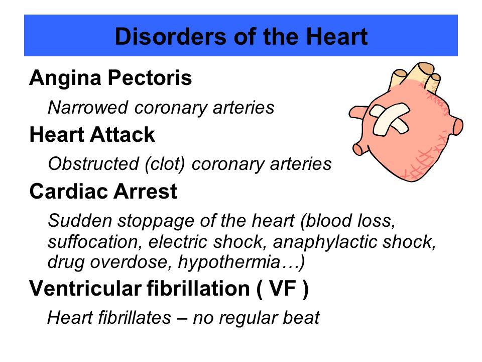 Disorders of the Heart Angina Pectoris Narrowed coronary arteries