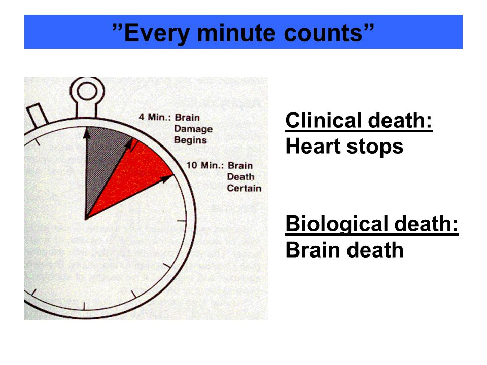 Every minute counts Clinical death: Heart stops Biological death: