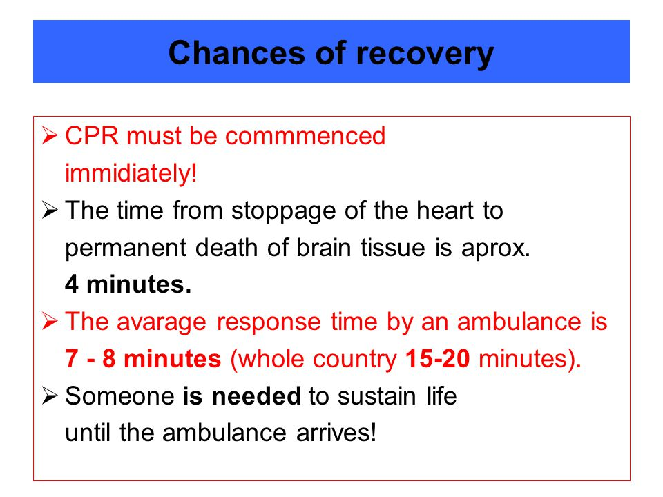 Chances of recovery CPR must be commmenced immidiately!