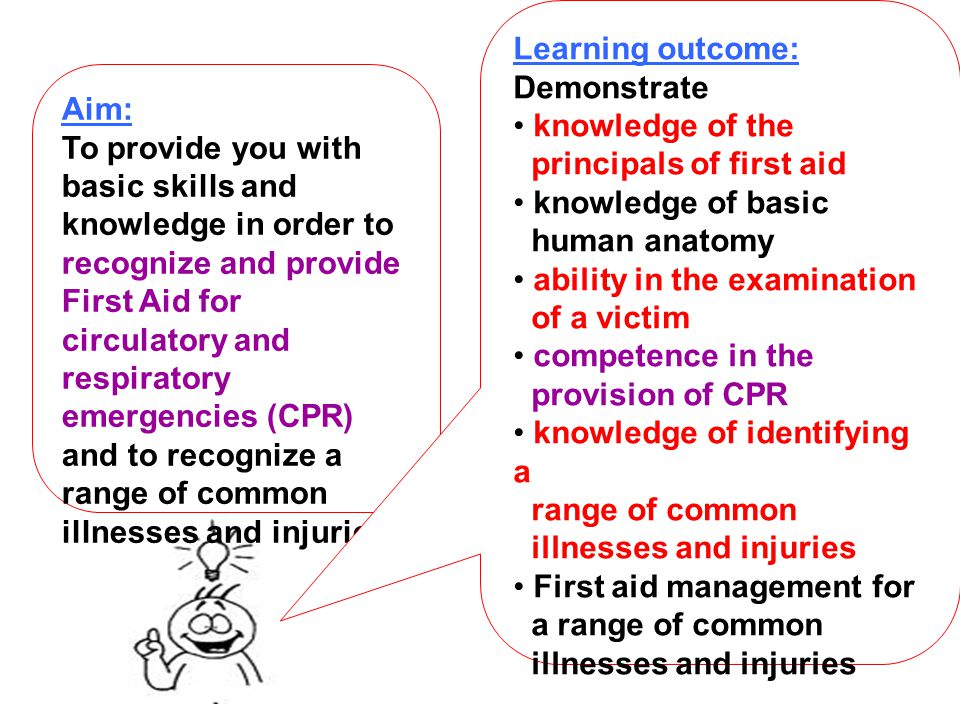 Learning outcome: Demonstrate. knowledge of the. principals of first aid. knowledge of basic. human anatomy.