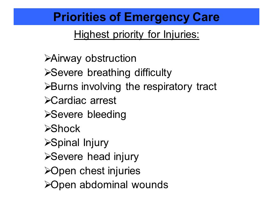 Priorities of Emergency Care