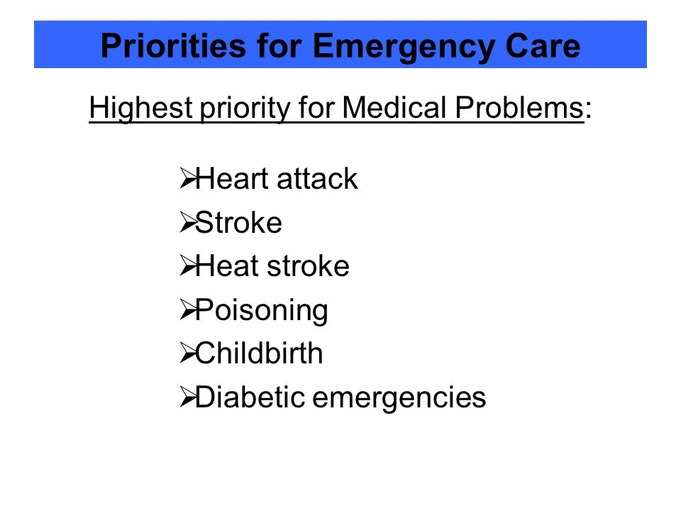 Priorities for Emergency Care